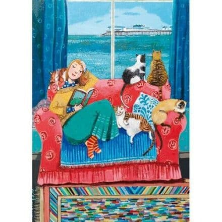 Room with View & Good Book- Blank Greeting  Card